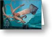 Aquarium Painting Greeting Cards - The Squid Greeting Card by Scott Listfield