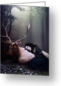 Mystical Greeting Cards - The Stag Greeting Card by Karen Koski