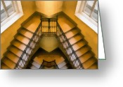 Fall Photographs Painting Greeting Cards - The staircase reflection Greeting Card by Odon Czintos