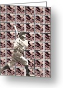 Babe Mixed Media Greeting Cards - The Stamp Collection - Babe Ruth Greeting Card by Spencer McKain