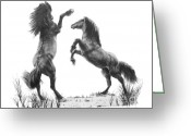 Wild Horse Drawings Greeting Cards - the Stand Greeting Card by Marianne NANA Betts