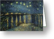 Post-impressionist Greeting Cards - The Starry Night Greeting Card by Vincent Van Gogh