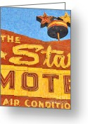 Welcome Signs Greeting Cards - The Stars Motel Greeting Card by Wingsdomain Art and Photography