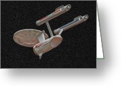 Starship Enterprise  Greeting Cards - The Starship in Space Greeting Card by Peggie Strachan