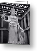 Sheild Greeting Cards - The Statue of Athena BW Greeting Card by Linda Phelps