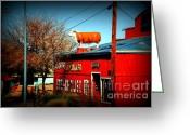 The Mother Road Greeting Cards - The Steakhouse on Route 66 Greeting Card by Susanne Van Hulst