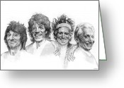 Rolling Stones Greeting Cards - THE STONES Drawing Greeting Card by Michael Essex
