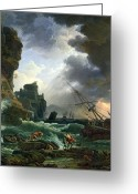 Sunset Scenes. Painting Greeting Cards - The Storm Greeting Card by Claude Joseph Vernet