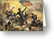 Star-spangled Banner Greeting Cards - The storming of the fortress at Chapultec Greeting Card by English School 