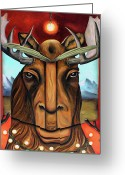 Horns Greeting Cards - The Story of Moose Greeting Card by Leah Saulnier The Painting Maniac