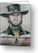 Clint Greeting Cards - The Stranger  Coloured pencil version Greeting Card by Andrew Read