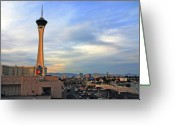 Architectur Greeting Cards - The Stratosphere in Las Vegas Greeting Card by Susanne Van Hulst