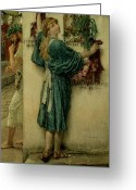 Alma-tadema Greeting Cards - The Street Altar Greeting Card by Sir Lawrence Alma-Tadema