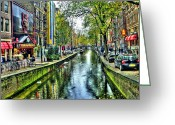 Light Aqua Greeting Cards - The Street Greeting Card by Svetlana Sewell