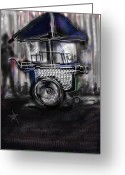 Street Vendor Greeting Cards - The Street Vendor Greeting Card by Russell Pierce