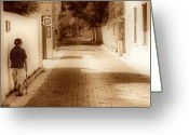 Brick Streets Greeting Cards - The Stroll Greeting Card by Nada Frazier