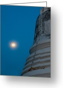 Holy Wisdom Greeting Cards - The stupa in the night during full moon Greeting Card by Ulrich Schade