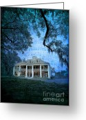 Landscape Framed Print Greeting Cards - The Sugar Palace - River Road Blues Greeting Card by Lianne Schneider