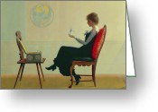 Music Box Greeting Cards - The Suitors Greeting Card by Harry Wilson Watrous
