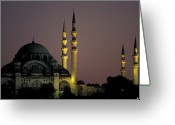 Minaret Greeting Cards - The Suleymaniye Mosque, As Seen Greeting Card by Richard Nowitz