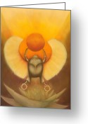 Goddess Posters Greeting Cards - The Sun at Night Greeting Card by Roger Williamson