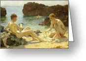 On The Beach Greeting Cards - The Sun Bathers Greeting Card by Henry Scott Tuke