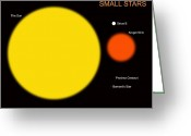 Red Dwarfs Greeting Cards - The Sun Compared To Four Typical Small Greeting Card by Ron Miller
