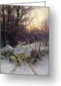 Snowing Greeting Cards - The Sun had closed the Winter Day Greeting Card by Joseph Farquharson
