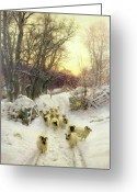 Farm Fields Greeting Cards - The Sun Had Closed the Winters Day  Greeting Card by Joseph Farquharson