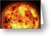Fire Greeting Cards - The Sun Greeting Card by Michael Tompsett