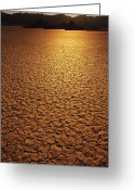 Thirsty Greeting Cards - The Sun Reflects Off This Parched Lake Greeting Card by Bill Hatcher