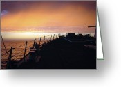 Guided Missile Destroyers Greeting Cards - The Sun Sets As The Guided Missile Greeting Card by Stocktrek Images