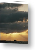 Silhouettes Greeting Cards - The Sun Shines Through The Clouds Greeting Card by Emory Kristof