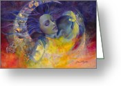 Sunrise Greeting Cards - The sun the moon and the truth Greeting Card by Dorina  Costras