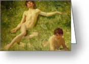 Laying Down Greeting Cards - The Sunbathers Greeting Card by Henry Scott Tuke