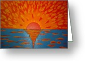 Spreads Greeting Cards - THE SUNRISE- Acrylic on Canvas Greeting Card by Sebastian Joseph