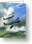 Plane Greeting Cards - The Supermarine Spitfire Mark IX Greeting Card by Wilfred Hardy