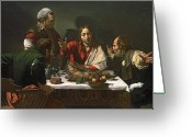 Michelangelo Greeting Cards - The Supper at Emmaus Greeting Card by Caravaggio