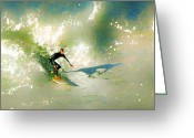Surf Art La Jolla Digital Art Greeting Cards - The Surfers Dream Greeting Card by David Rearwin
