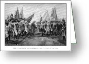 Military Hero Drawings Greeting Cards - The Surrender Of Cornwallis At Yorktown Greeting Card by War Is Hell Store