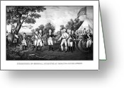 Flag Drawings Greeting Cards - The Surrender of General Burgoyne Greeting Card by War Is Hell Store