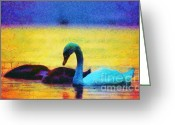 Blue_tit Greeting Cards - The swan family Greeting Card by Odon Czintos