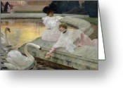 Feeding Painting Greeting Cards - The Swans Greeting Card by Joseph Marius Avy