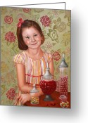 People Portraits Greeting Cards - The Sweet Sneak Greeting Card by Enzie Shahmiri
