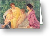 Cassatt Greeting Cards - The Swim or Two Mothers and Their Children on a Boat Greeting Card by Mary Stevenson Cassatt