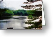 Grey Clouds Digital Art Greeting Cards - The Swimming Dock Greeting Card by Michelle Calkins