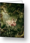 1732 Greeting Cards - The Swing  Greeting Card by Jean-Honore Fragonard