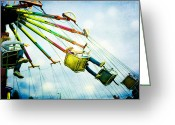 Fairgrounds Greeting Cards - The Swings Greeting Card by Kim Fearheiley