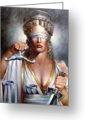Greek Sculpture Painting Greeting Cards - The Sword and Scales of Justice Greeting Card by Geraldine Arata