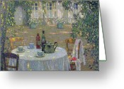 Eating Painting Greeting Cards - The Table in the Sun in the Garden Greeting Card by Henri Le Sidaner